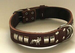 DOG COLLAR-FRENCH BULLDOG 1 1/4 INCH WIDE DOG COLLAR, REAL LEATHER SILVER