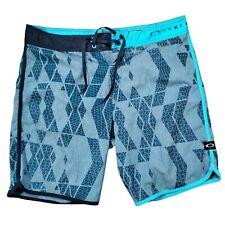 Oakley Mens Blue Flat Front Drawstring Waist Swim Trunk Board Shorts Size 36