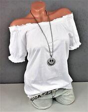 Süßes Carmen Shirt - Off Shoulder schulterfrei Smoke Bluse in weiß Gr. 36 38