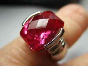 STERLING SILVER 925 ESTATE ROSS SIMONS FUSCIA PINK TOPAZ SOLITAIRE RING SIZE 6