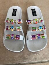 "GRANDCO Sz 7 white rubber multi color beaded sandals 1"" platform"