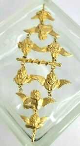 Ultra Craft Gold Tone Cherub Shoulder Epaulet Brooch Vtg 1980 *has Flaw*  9 x 4
