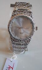 Men's Techno Pave Silver Finish Iced Dial Full Nugget Style Fashion Watch
