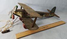 "Antique Rare 1920's Tin Bi-Plane Airplane 12 1/2"" Long Working Radial Engine"