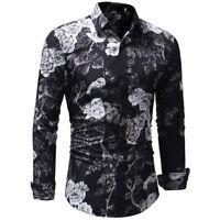 Fashion Men's Shirt Long Sleeve Printed Casual Tops Stylish Slim Fit Shirt Tops