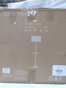 JONATHAN Y Luce 59 in. Black/Brass Metal/Wood LED Floor Lamp with Table