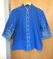 Bob Mackie Ladies Size S 10 - 12 Blue Shirt Embroidered Blouse  Hippy Boho