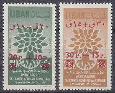 Libanon Lebanon 1960 ** Mi.693/94 Weltflüchtlingsjahr Refugee Year, ovpt.