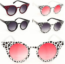 Ladies Rockabilly Polka Dot Retro Round Lens Cat Eye 50s sunglasses