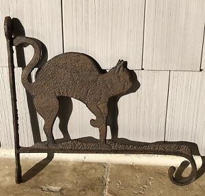 Vintage Cast Iron Cat Lover Sign Store Front Hook Rustic Decor Plaque