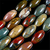"""New 8x12mm Multicolor Picasso Jasper Gem Rice Loose Beads 15"""" Strands"""