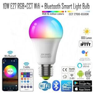 10W E27 WIFI + Bluetooth RGBCW RGB +CCT Smart LED Light Bulb 2.4GHz Remote Alexa