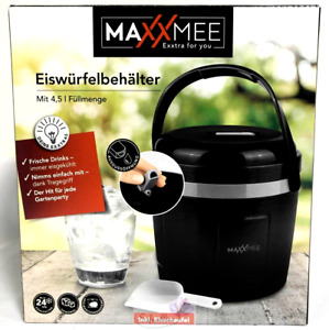 MAXXMEE Eiswürfelbehälter mit Deckel 4,5l inklusive Eisschaufel Behälter Schwarz