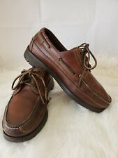 Cabela's Men's Dark Brown Hand Sewn Leather Boat Shoes Vibram Soles Sz 8.5 D