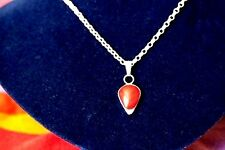 "Sterling silver and red lava rock pendant necklace,hallmarked 18"" chain"