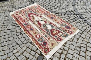 Impressive Beautiful Antique Collector's Piece Anatolian Fragment Prayer Kilim