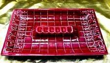 LARGE RED OBLONG SHAPED ASHTRAY UNIQUE CHESSBOARD DESIGN PATTERN HEAVY DUTY