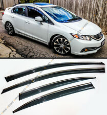 MUG STYLE SMOKED WINDOW VISOR RAIN/SUN SHADE W/ CLIPS FOR 2012-15 HONDA CIVIC 4D