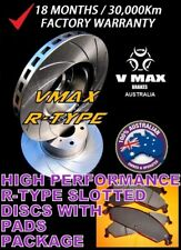 R SLOT fits JAGUAR E Type V12 4.2L 1968-1974 FRONT Disc Brake Rotors & PADS