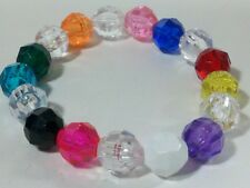 Bead Bracelet Bangle Stretch Elastic New 8mm Rainbow Colorful Pink Blue Acrylic