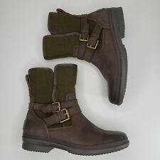 UGG Size 7.5 Boots Simmens Stout Brown Leather Green Wool Shearling Lined Zip