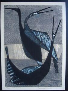 "Tamami Shima woodblock,Japan,1957,1st ed,481/510, "" Birds"" listed, Published"