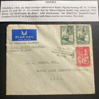 1936 Lagos Nigeria First Direct Flight Airmail Cover FFC to Kano Imperial Airway