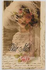 BRIDE*ELUSIVE*FRENCH SCRIPT COLLAGE*QUILT ART FABRIC BLOCK 5X7
