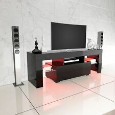 Black Modern TV Stand 130CM Unit Cabinet High Gloss Table Entertainment LED RGB