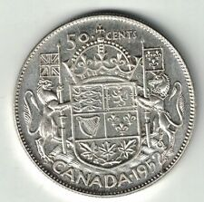 CANADA 1952 WIDE 50 CENT HALF DOLLAR GEORGE VI .800 SILVER COIN WITH DIE BREAK