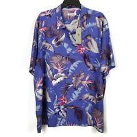 Tommy Bahama Hawaiian Shirt Size 3XL Blue Silk Bird of Paradise Floral Aloha NWT