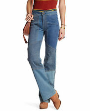 Free People Alissas Patchwork Stretch Flare Jean in Denim Blue Size 26 NEW