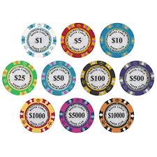10x Pro Jeton Poker Professionnel Pions Disques Puces Marqueurs Jeu Cartes Texas