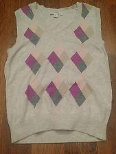 Banana Republic Sweater Vest Knit Top Sleeveless Gray Diamond Pull Over Womens S