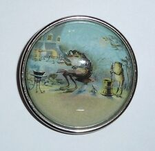 """Awesome Frog Chemist Looking Glass Domed Ant.Silver Bezel Button - 1-1/2"""" diam"""