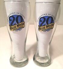 2 Blue Moon 20 Year Anniversary Tall Beer Tulip Glasses 16 oz Clean Belgium EUC
