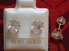 Exclusive Mondstein Ohrstecker - 7 mm - 10 Kt. Gold 417- Brillant Cut - Ohrringe