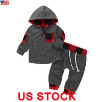 Toddler Baby Boys Girls Outfits Clothes Hoodie T-shirt Tops+Pants 2PCS Outfits