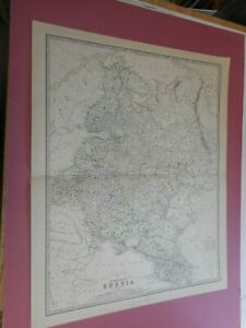 100% ORIGINAL LARGE RUSSIA IN EUROPE BLACK SEA  MAP BY K JOHNSTON C1884 VGC