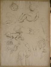 Dessin Original Fusain  LUC LAFNET (1899-1939) Etude Enfants Anne-Marie LL18
