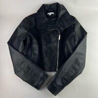 New York & Company Womens Moto Jacket Black Asymmetric Zip Collared S