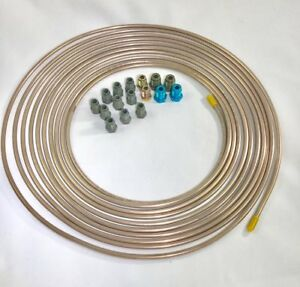 "25 ft. Copper Nickel 3/16"" Brake Line w/ metric ISO/Bubble Flare fittings"
