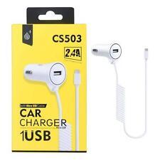 Cargador de coche blanco con micro USB para teléfonos móviles y PDAs