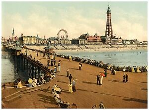 Blackpool From North Pier Vintage photochrome print ca. 1890