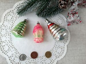 Christmas Mercury Glass ornament Stacker Ring House Antique Soviet Toy 40s  153