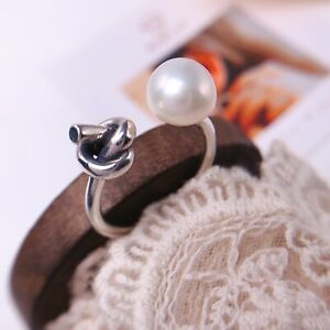 925 sterling silver ring freshwater pearl ring Open Ring size 5 6 7 8