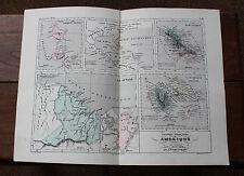 1850 Carte Géographique Atlas époque couleur Guadeloupe Guyane Martinique