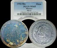 1993-Mo Mexico Silver Onza PCGS MS65 Deep Blue Toning Libertad Toned