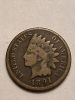 FREE SHIP! VG 1891 Indian Head Cent - 120+ Year Old Penny - US Type Set Coin LT4