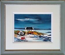 "Original Oil Painting - Seascape~""The Old Boat Shed""~Double Mounted~Framed"